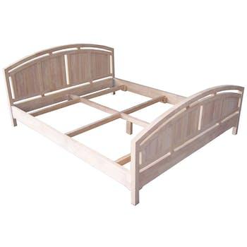 Lit 2 places Hévéa pour couchage 140x190, tête et pied de lit arrondis 150x200x81cm MAORI TRADITION