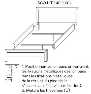 Lit chêne et métal couchage 160x200cm FERSCOTT