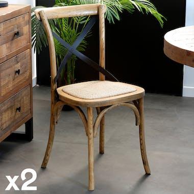 Chaise bois et metal de style bistrot assise en cannage