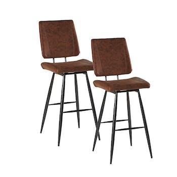 Chaise haute de bar en tissu marron pieds metal style contemporain