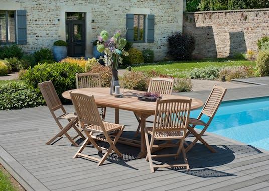 Lot de 2 chaises de jardin pliantes Lombock en Teck 99 cm SUMMER