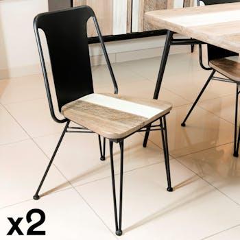 Lot de 2 Chaises en Acacia massif bandes teintes variées et métal noir 50,5x49x85cm CADIX