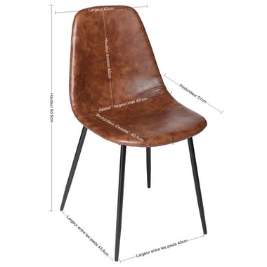 Lot de 2 chaises PU camel effet vieilli pieds métal noir 53x43x82cm