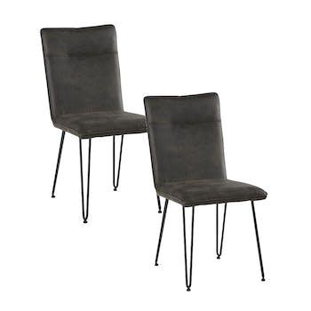 Chaise en tissu gris pieds metal epingle de style contemporain
