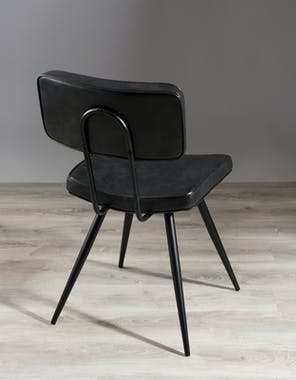 Lot de 2 Chaises Style Vintage en métal et tissu noir/gris anthracite 41x59x82cm TIM