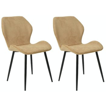 Lot de 2 Chaises surpiqûre camel
