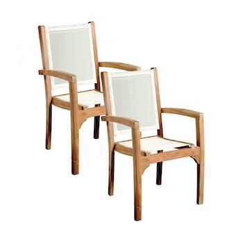 Lot de 2 fauteuils en Teck massif et assise et dossier en Textilène couleur ivoire 55,2x57x91,5cm SUMMER