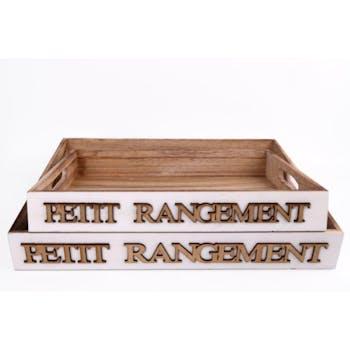 """Lot de 2 plateaux """"Petit Rangement"""" bois naturel avec poignées 40x30x5,5cm"""
