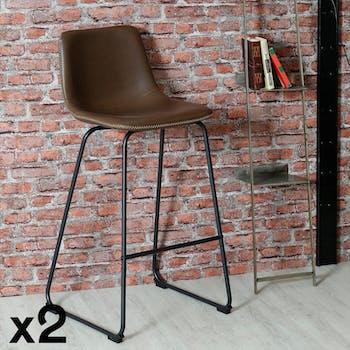 Chaise haute de bar marron style contemporain pied metal