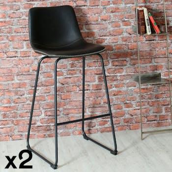Chaise haute de bar noir style contemporain pied metal