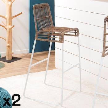 Chaise haute de bar en rotin naturel pied metal blanc style exotique