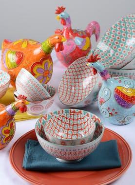 Lot de 3 bols décor graphique porcelaine tons orangés et turquoises D15xH10,5cm