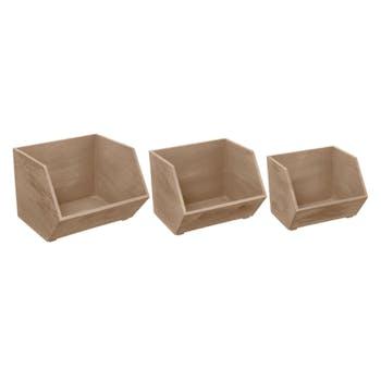 Lot de 3 casiers en bois imbriquables