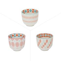 Lot de 3 gobelets décor graphique porcelaine tons orangés et turquoises D5xH5,5cm