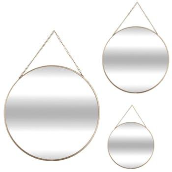 Lot de 3 miroirs rond cerclés métal doré de différentes tailles D29cm