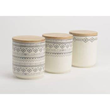 Lot de 3 Pots Steppe hermétiques en porcelaine écrue avec motifs linéaires et liseré couleur bordeaux