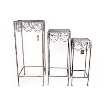 Lot de 3 sellettes carrées métal grisé vieilli décor arabesques 72x30cm
