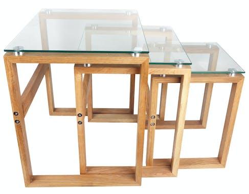 Lot de 3 Tables carrées d'appoint Gigogne plateau verre et pieds bois H50cm