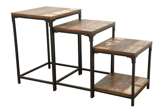Lot de 3 Tables Gigognes / Sellettes en Hévéa recyclé coloré et métal 55x45x70cm LOFT COLORS