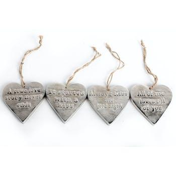 """Lot de 4 Coeurs """"Message"""" en aluminium brossé à suspendre 9cm"""