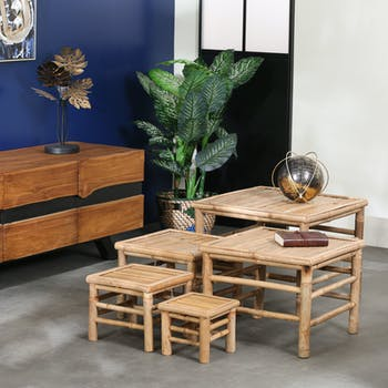 Lot de 5 tables gigognes en bambou