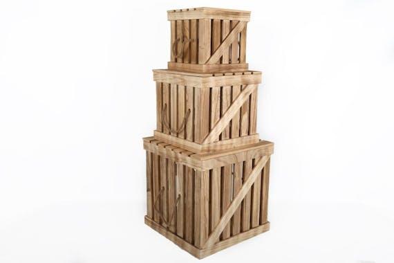 Malle en bois façon cagette Petit modèle