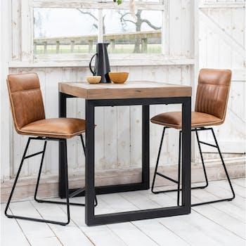 Table haute mange debout carre bois recycle style industriel pied metal
