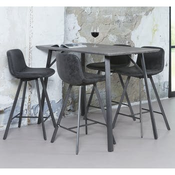 Table haute mange debout rectangulaire en bois effet beton style contemporain