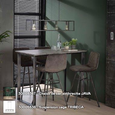 Table haute mange debout en bois effet beton et pied metal style vintage