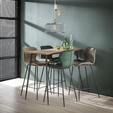 Table de bar mange debout rectangulaire en bois et metal style vintage