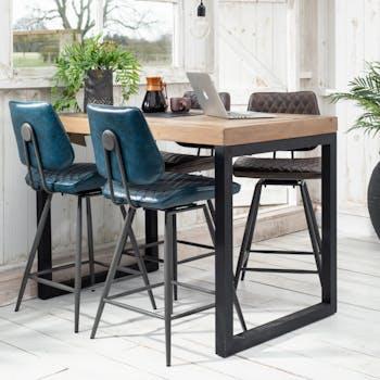 Table haute mange debout rectangulaire style industriel bois recycle