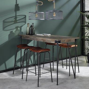 Table haute mange debout bois recycle gris et metal style industriel