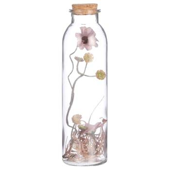 Margherite rose séchée dans vase bouteille 20 cm