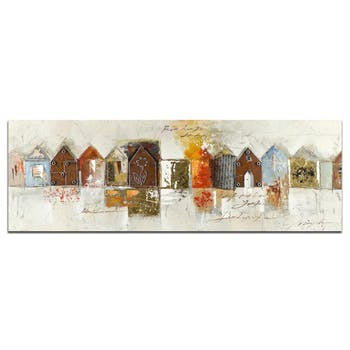 MARINE Peinture Figurative panorama Vert Acryl. 150x50