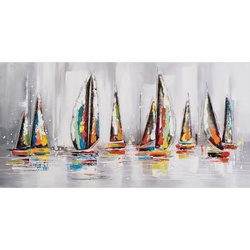 MARINE Tableau frégate multicolore panoramique 140x70 avec éléments métal