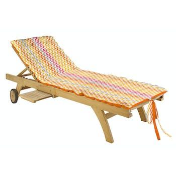 Matelas bain de soleil orange en coton 60x170cm IKATI