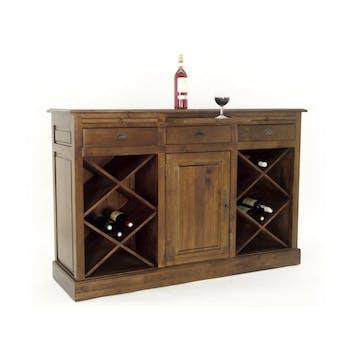 Meuble bar avec casier à bouteilles hévéa 149cm TRADITION