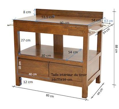 Meuble bas 2 tiroirs salle de bain hévéa 90cm OLGA