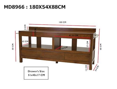Meuble bas 3 tiroirs salle de bain 180cm OLGA