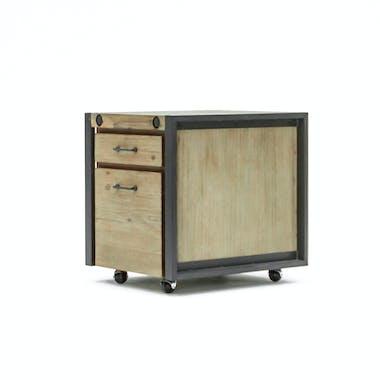Meuble bas / Caisson de Bureau à roulettes Inspiration Indus' en Acacia et Métal, 2 tiroirs 51x60x60cm BROOKLYN