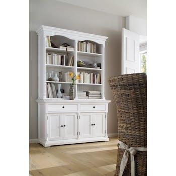 Bibliotheque buffet en bois blanc de style bord de mer