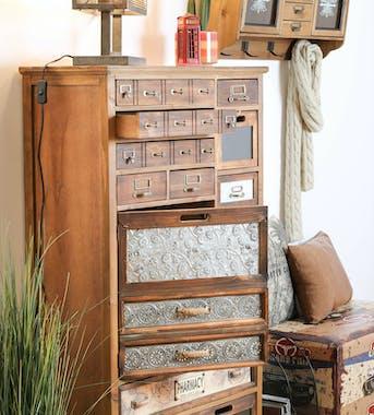 Meuble d'apothicaire 13 tiroirs 1 porte LAMPHUN