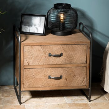 Meuble de chevet 2 tiroirs bois de sapin en marqueterie BOSTON