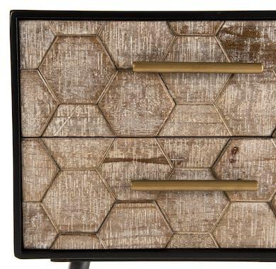 Meuble de chevet 2 tiroirs nid d'abeilles RIGA