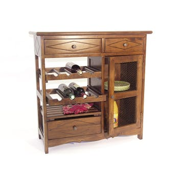 Meuble de cuisine Hévéa 3 tiroirs, 1 porte grillagée, 1 étagères, 2 racks à bouteilles 83x38x84cm TRADITION