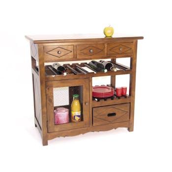 Meuble de cuisine Hévéa 4 tiroirs, 1 porte grillagée, 1 étagère, 1 rack à bouteilles 88,2x50x84cm TRADITION