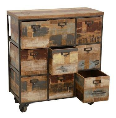 Meuble de Rangement à roulettes 9 tiroirs en Hévéa recyclé coloré et métal 76x35x83cm LOFT COLORS