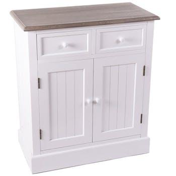 Meuble de rangement blanc bois 2 tiroirs 2 portes ETRETAT