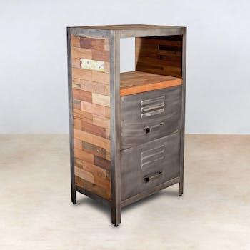 Meuble de rangement bois recyclé 1 niche et 2 tiroirs métal 60x40x110cm CARAVELLE