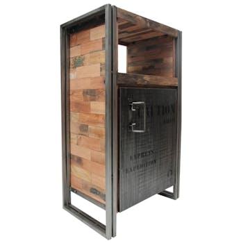 Meuble de rangement en bois recycle avec porte style indutriel